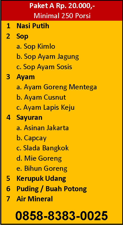 Paket menu prasmanan 20 ribu per porsi di Jakarta